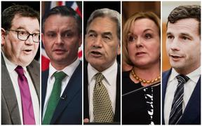 Labour's Finance Minister Grant Robertson, Green Party co-leader James Shaw, NZ First Party leader Winston Peters, National Party leader Judith Collins and  ACT Party leader David Seymour.
