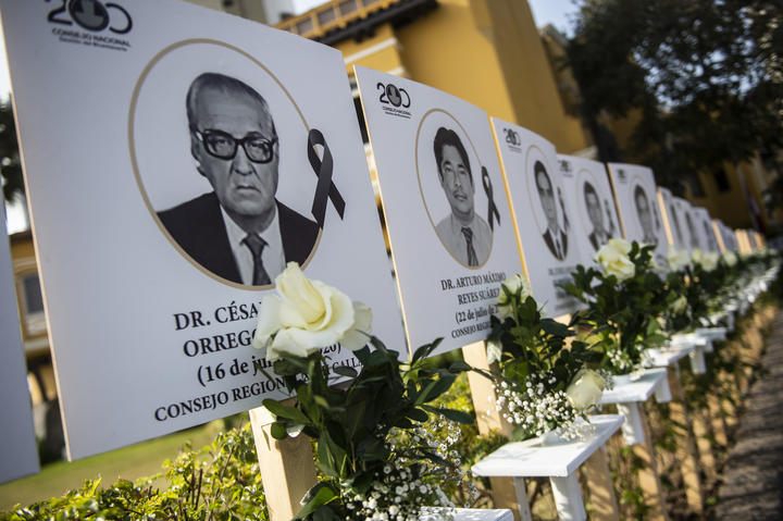 Images of the 125 doctors who have died during the Covid-19 pandemic in Peru, are displayed in Lima.