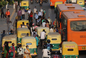 A crowded road near in New Delhi, India on 9 September. Cases and deaths from Covid-19 have soared in India.