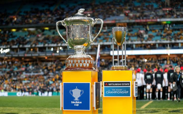 The Bledisloe Cup and Rugby Championship Trophy. ANZ Stadium Sydney. 2018.