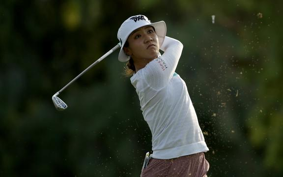 Lydia Ko of New Zealand plays a tee shot on the 17th hole during the second round of the ANA Inspiration at the Dinah Shore course at Mission Hills Country Club on September 10, 2020 in Rancho Mirage, California.