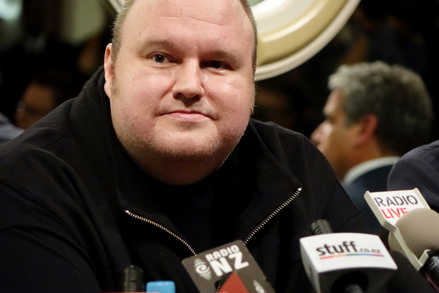 "Kim Dotcom speaks to media after his ""Moment of Truth"" event at Auckland's Town Hall."