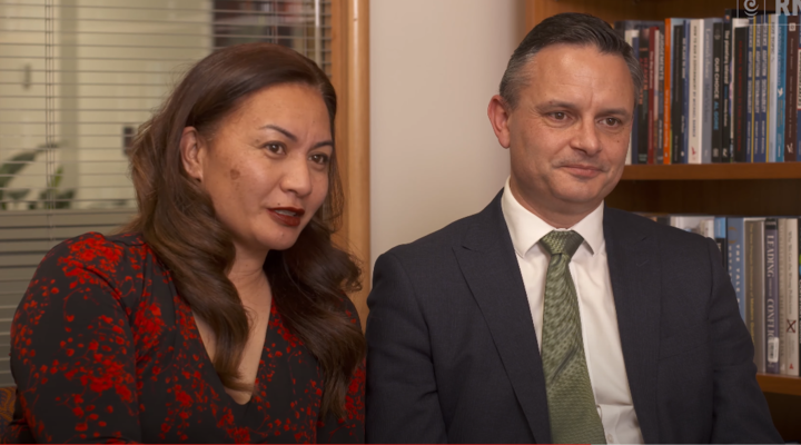 Green Party co-leaders Marama Davidson and James Shaw.
