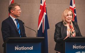 National's finance spokesperson Paul Goldsmith and leader Judith Collins announce the party's tax and economic policy in Wellington 18/09/20