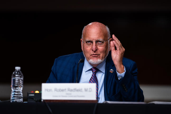 Centers for Disease Control and Prevention Director Dr. Robert Redfield speaks during a Senate Appropriations subcommittee hearing, on 16 September.