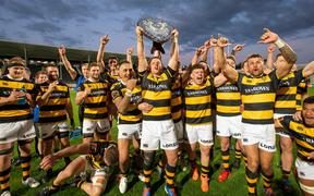 Taranaki celebrate winning the Ranfurly Shiel  at Orangtheory Stadium, Christchurch, New Zealand. Saturday 19 September 2020.