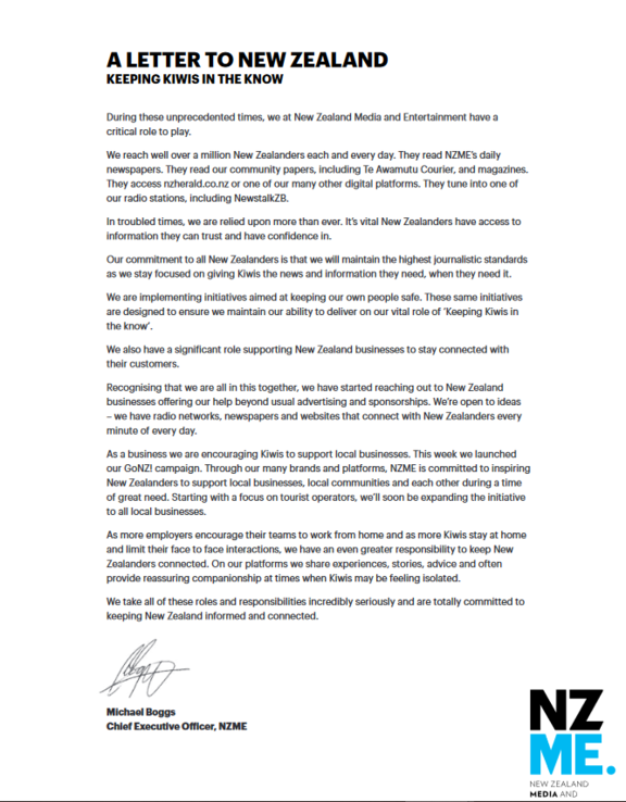 'Letter to New Zealand' by NZME CEO Michael Boggs in March 2020.