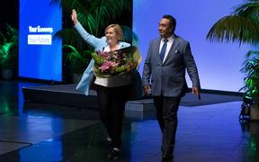 National Party Leader Judith Collins and husband David Wong-Tung wave to supporters during the Virtual National Party 2020 Campaign Launch at Avalon Studios on September 20, 2020 in Wellington, New Zealand.
