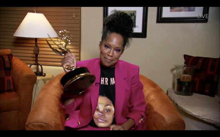 US actress Regina King wearing a Breonna Taylor shirt as she wins the Emmy for Outstanding Lead Actress In A Limited Series Or Movie with Watchmen during the 72nd Primetime Emmy Awards on September 20, 2020.