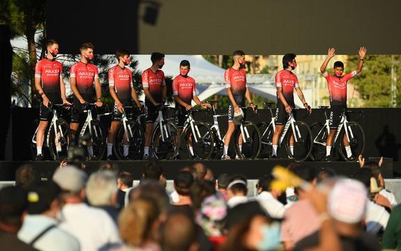 The Arkea-Samsic team at the start of the 2020 Tour de France.