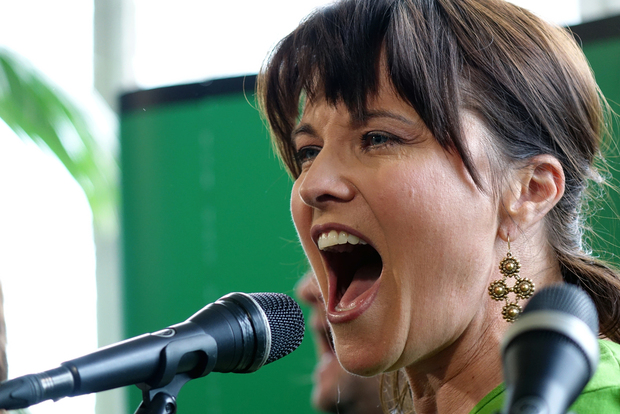 Lucy Lawless performing at a Green Party event.