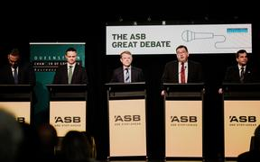 The five Finance spokespeople at a pre-election debate in Queenstown. Left to Right: NZ First's Fletcher Tabuteau, Greens' James Shaw, National's Paul Goldsmith, Labour's Grant Robertson and ACT's David Seymour.