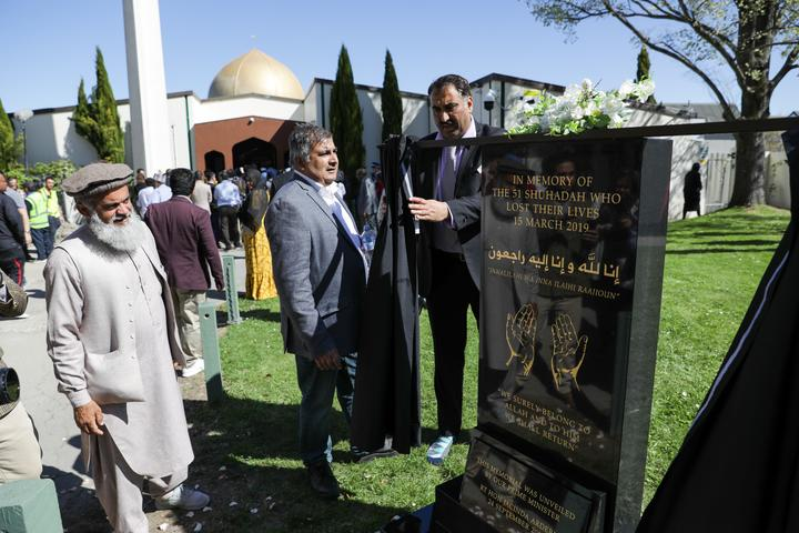 Members of the public and Muslims gather for the memorial plaque unveiling on 24 September, 2020.