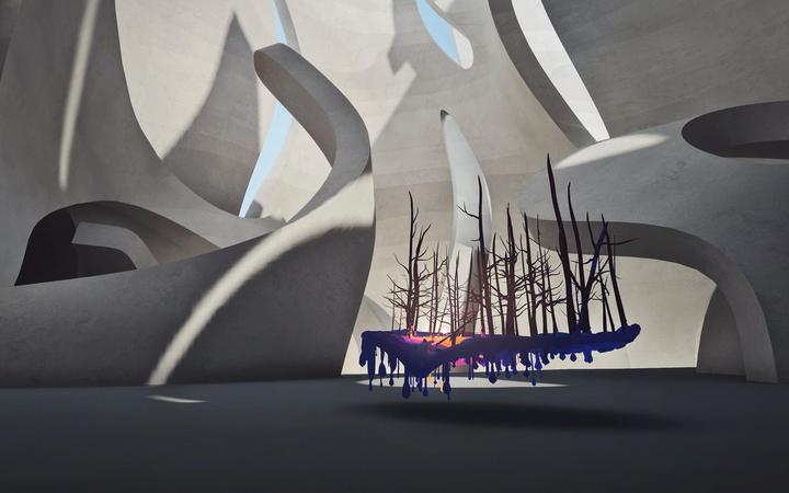 NightSnow: An 'exhibition' in the Museum of Other Realities - a place which exists only in VR.