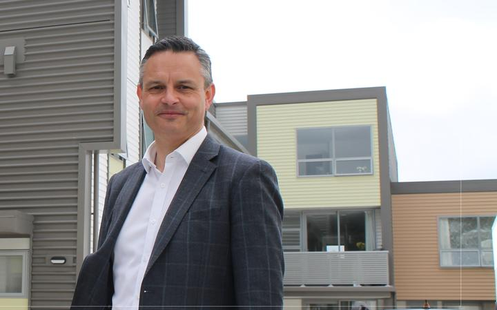 Green Party co-leader James Shaw during a visit to the Dwell Housing Trust in Kilbirnie, which offers low cost homes that tenants can rent to own, on 25 September, 2020.