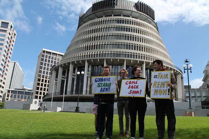 Renters United staged a farewell to the rent freeze outside Parliament on 25 September, 2020.