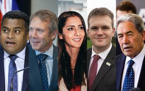 Immigration spokespeople in the 2020 election campaign (from left): Labour's Kris Faafoi; the National party's Stuart Smith;  Golriz Ghahraman of the Greens; ACT's James McDowall and NZ First leader Winston Peters.
