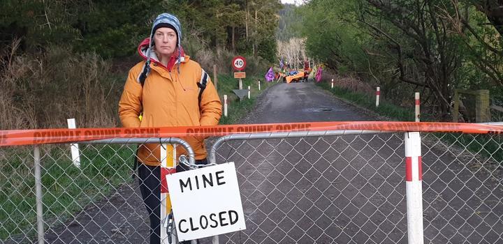 Extinction Rebellion protestor Julie Thompson at the Bathurst Coalgate mine in Canterbury 28 September.
