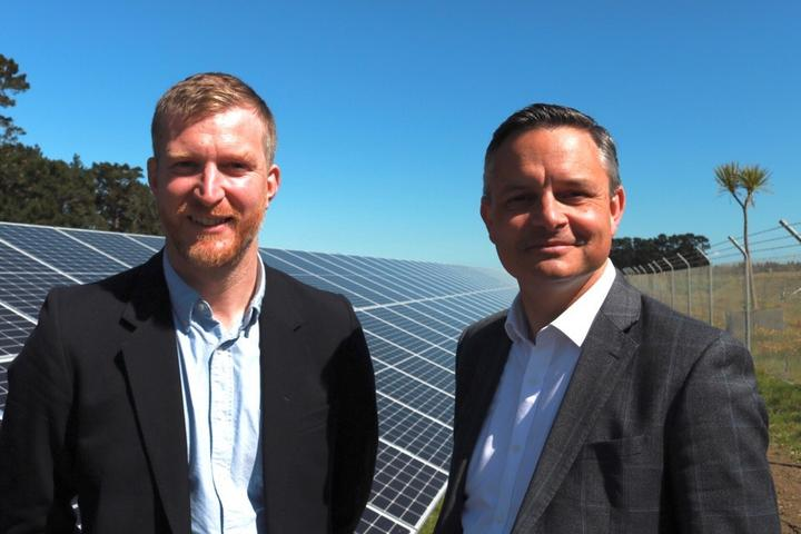 Thomas Nash, a councillor at the Greater Wellington Regional Council (left) and Green Party co-leader James Shaw.