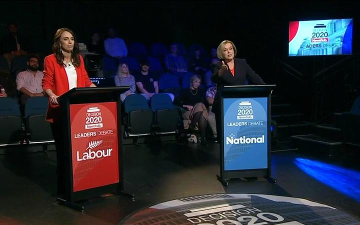 Labour leader Jacinda Ardern and National leader Judith Collins during the Newshub leaders dehate. 30 September 2020