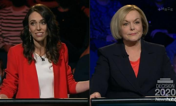 Labour leader Jacinda Ardern and National leader Judith Collins during the Newshub leaders debate. 30 September 2020.