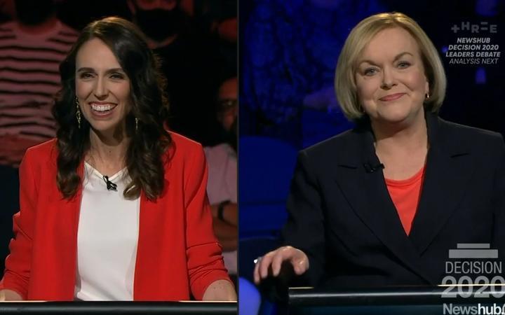 Labour leader Jacinda Ardern and National leader Judith Collins during the Newshub leaders debate. 30 September 2020.