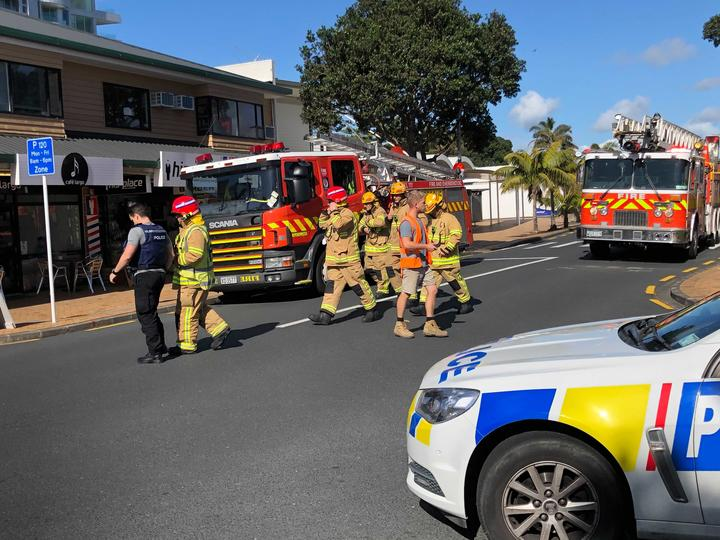 Fire crews arrived at the building in Orewa to find the roof on fire.