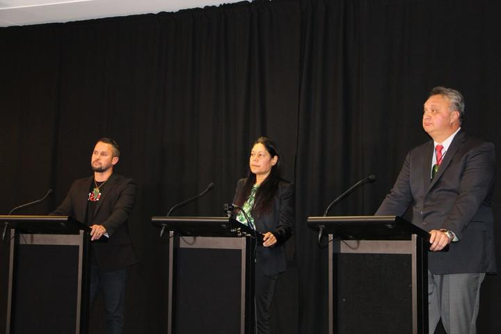 The candidates running in Te Tai Tonga at a Ngāi Tahu hosted debate on Tuesday (L-R) the Māori party's Tākuta Ferris, Green party candidate Ariana Paretutanganui-Tamati and Labour-incumbent Rino Tirikatene