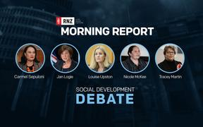 A promo for the Morning Report social development debate.