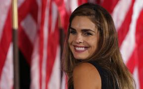 Former White House communications director Hope Hicks reacts following US President Donald Trump's acceptance speech for the Republican presidential nomination on the South Lawn of the White House August 27, 2020 in Washington, DC.