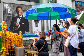 "An ad featuring Daniel Craig in the new James Bond movie ""No Time to Die"" in Bangkok, on 28 September."