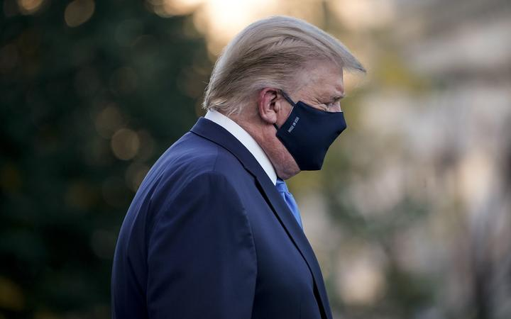 WASHINGTON, DC - OCTOBER 02: U.S. President Donald Trump leaves the White House for Walter Reed National Military Medical Center on the South Lawn of the White House on October 2, 2020 in Washington, DC.