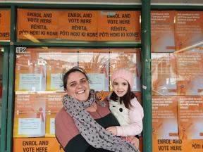 Tanya and her daughter Te Aroha at the Riddiford St polling station in Wellington, on the first day of voting.