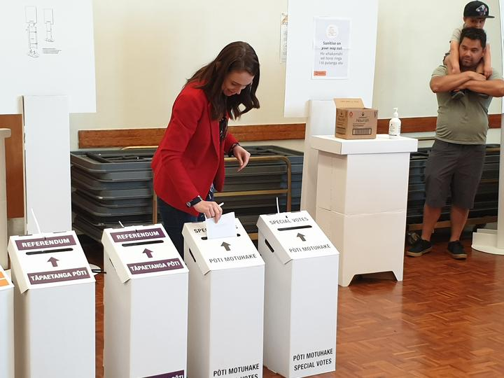 Jacinda Ardern casting her vote in the 2020 general election at Mt Eden War Memorial Hall in Auckland.