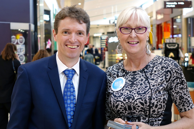 Colin Craig and Christine Rankin campaigning in an Auckland mall.