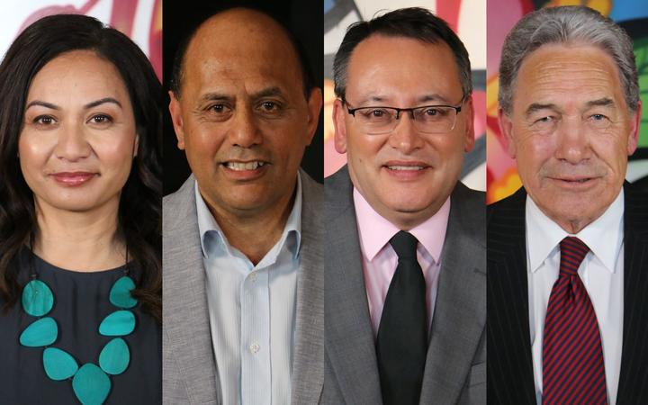 (from left) Green Party co-leader Marama Davidson, Labour's Willie Jackson, National Party health spokesperson Shane Reti, NZ First leader Winston Peters.
