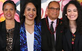 (From left) Independent candidate Luella Linaker, National's Fonoti Agnes Loheni, Labour candidate Aupito William Sio and the Greens' Lourdes Vano,