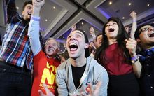 Pro-union supporters celebrate as Scottish independence referendum results.