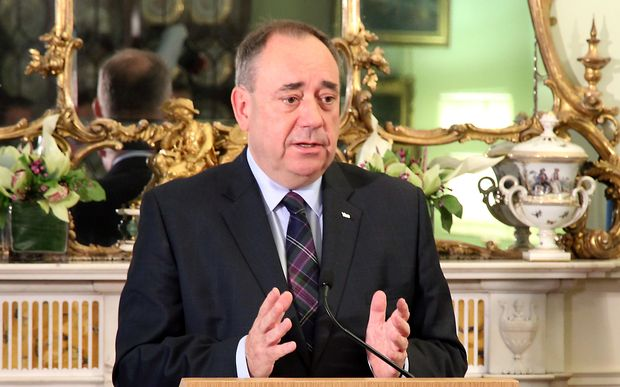 Scotland's First Minister Alex Salmond speaks during a press conference to announce his resignation.