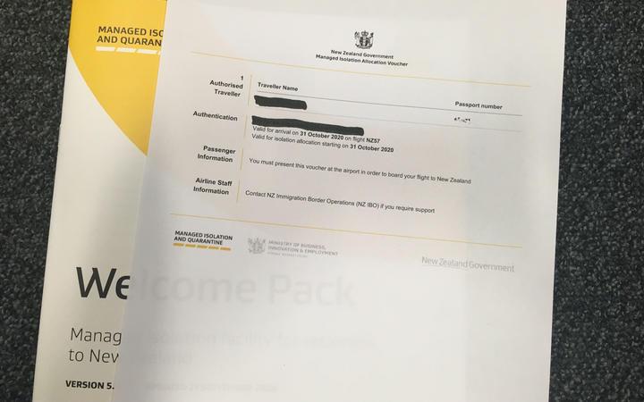 Managed isolation and quarantine booking voucher (MIQ)
