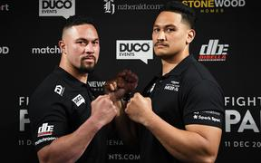 Joseph Parker and Junior Fa face off during a press conference confirming the heavyweight boxing match between Joseph Parker and Junior Fa.