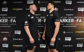 Joseph Parker and Junior Fa face off during a boxing press conference confirming the heavyweight boxing match between Joseph Parker and Junior Fa.