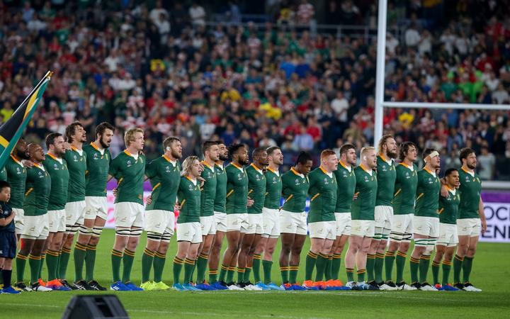 Springboks sing the South African national anthem during the 2019 Rugby World Cup.