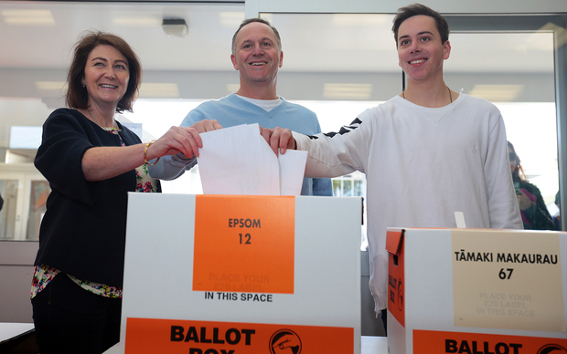 John key with his wife Bronagh and son Max voting in Auckland.