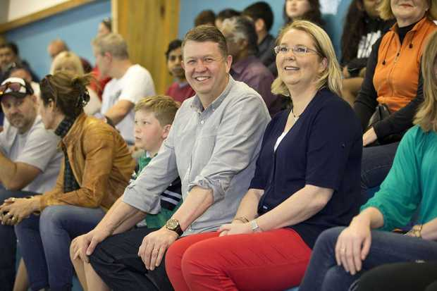 David Cunliffe watches a water polo game with his wife Karen Price on election day.