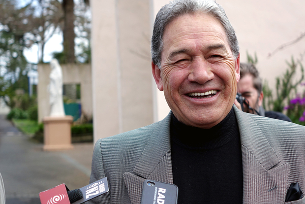 Winston Peters speaks to media after voting in Auckland.