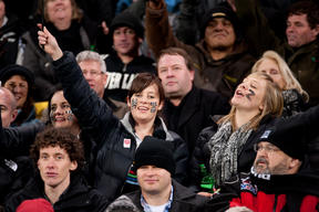 All Blacks fans revel after an All Blacks try against South Africa at the then-Westpac Stadium, in 2011.