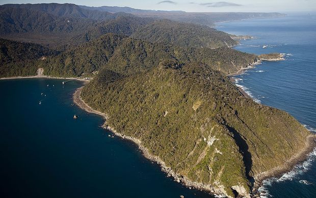 An aerial view of Jackson Bay on the West Coast of New Zealand.