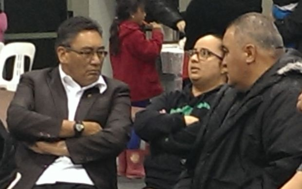 Hone Harawira (left) with supporters in Awanui.