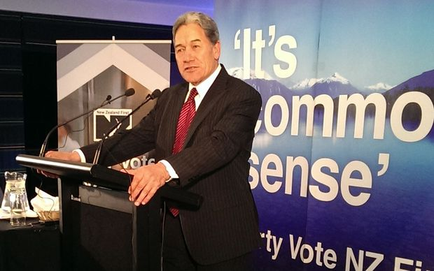Winston Peters speaks to supporters.